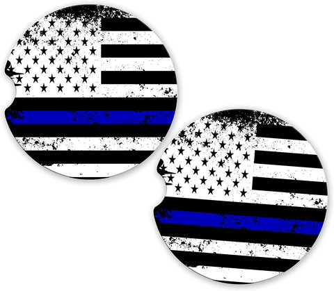 Thin Blue Line Police Officers Distressed USA Flag Car Sandstone Cup Holder Matching Coaster Set