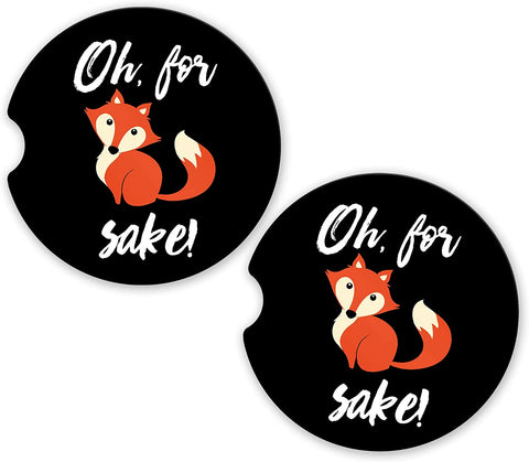 BrownInnovativeMedia Oh for Fox Sake Custom Car Cup Holder Matching Coaster Set