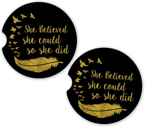 BrownInnovativeMedia She Believed She Could Custom Car Cup Holder Matching Coaster Set