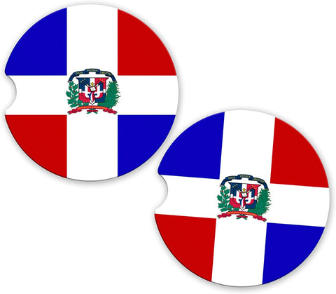 Dominican Republic Flag Custom Car Coasters Cup Holder Matching Coaster Set
