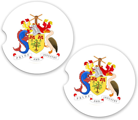 Barbados World Flag Coat Of Arms Sandstone Cup Holder Matching Coaster Set