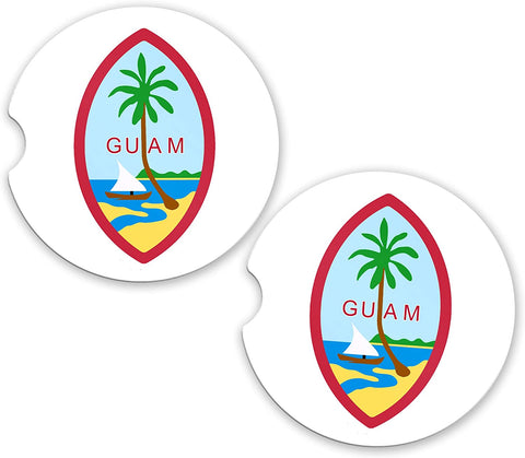 Guam World Flag Coat Of Arms Sandstone Car Cup Holder Matching Coaster Set