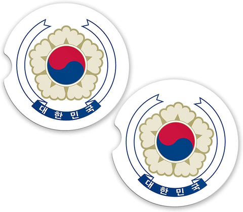 South Korea World Flag Coat Arms Sandstone Car Cup Holder Matching Coaster Set