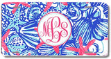Blue Coral Starfish Print Monogrammed Personalized Custom Initials License Plate Car Tag