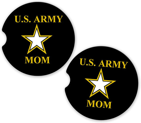 BrownInnovativeMedia US Army Mom Military Car Sandstone Car Cup Holder Matching Coaster Set