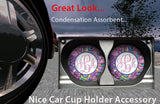 BrownInnovativeMedia Purple Teal Paisleys Personalized Monogram Sandstone Car Cup Holder Matching Coaster Set
