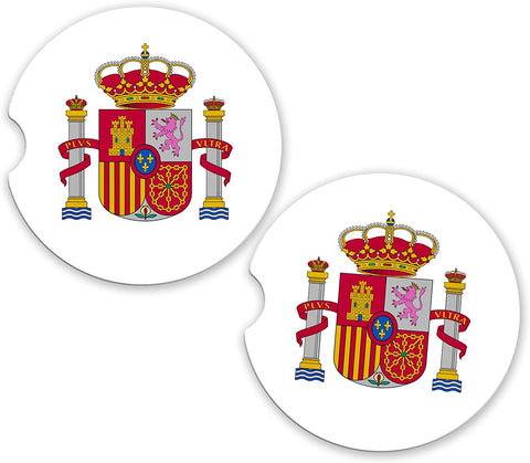 BrownInnovativeMedia Spain World Flag Coat of Arms Sandstone Car Cup Holder Matching Coaster Set