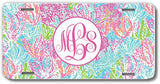 Ocean Pastels Print Monogrammed Personalized Custom Initials License Plate Car Tag