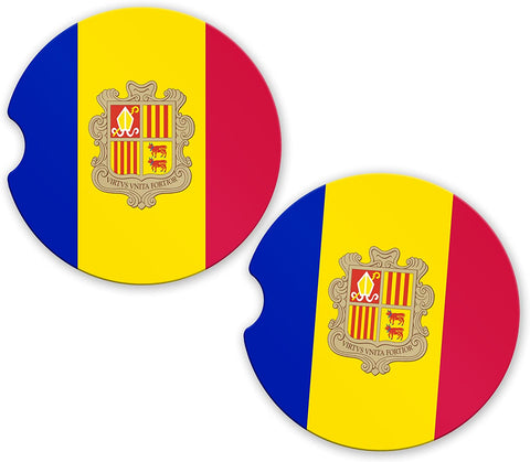 Andorra Flag Custom Car Coasters Cup Holder Matching Coaster Set