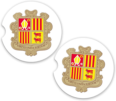 Andorra World Flag Coat Of Arms Sandstone Cup Holder Matching Coaster Set
