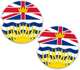 British Columbia Flag Custom Car Coasters Cup Holder Matching Coaster Set
