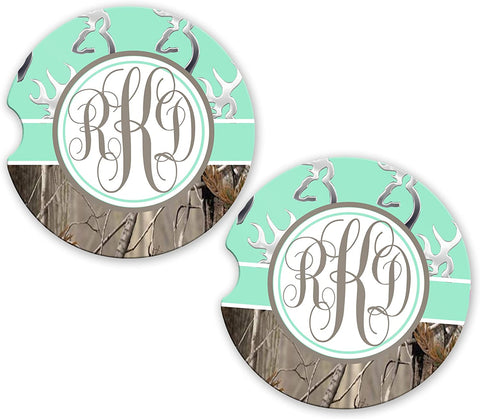 BrownInnovativeMedia Mint Monogram Deer Head Buck Camo Sandstone Cup Holder Matching Coaster Set