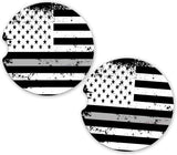 Thin Gray Line Distressed USA Flag Support Correctional Officers Car Sandstone Cup Holder Matching Coaster Set
