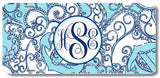 Blue Anchor Nautical Paisley Print Monogrammed Personalized Custom Initials License Plate Car Tag
