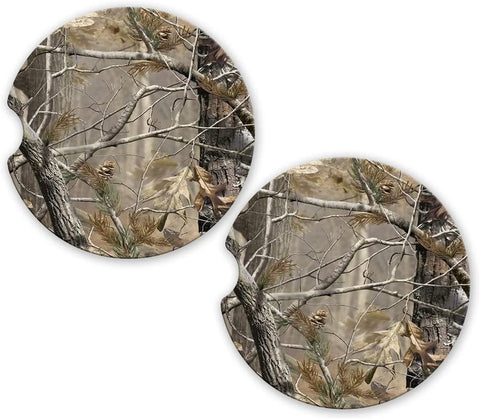 BrownInnovativeMedia Camo Sandstone Car Cup Holder Matching Coaster Set