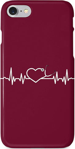 Nurse Heartbeat Bordeaux Red iPhone Case Cover 5/5S/SE/6/6S 6/6S 7 8 Plus X XS 3D Wrap Around Case