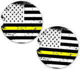Thin Yellow Line Distressed Support Dispatchers USA Flag Custom Car Coasters Cup Holder