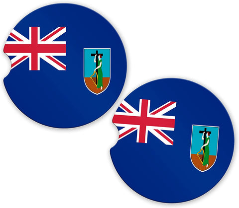 Montserrat Flag Custom Car Coasters Cup Holder Matching Coaster Set