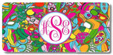 Vibrant Paisleys Print Monogrammed Personalized Custom Initials License Plate Car Tag