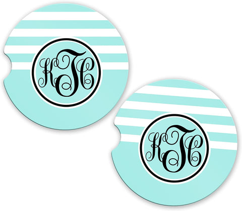 BrownInnovativeMedia Sky Blue Stripe Personalized Monogram Sandstone Car Cup Holder Matching Coaster Set