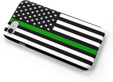 Thin Green Line Military Flag iPhone Case Cover 5/5S/SE/6/6S 6/6S 7 8 Plus X XS XR XS MAX 3D Wrap Around Case