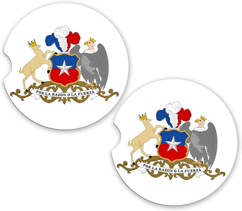 Chile World Flag Coat Of Arms Sandstone Car Cup Holder Matching Coaster Set