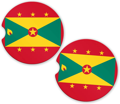Grenada Flag Custom Car Coasters Cup Holder Matching Coaster Set