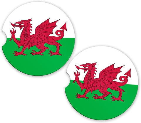 Wales Welsh Dragon Flag Custom Car Coasters Cup Holder Matching Coaster Set