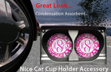 BrownInnovativeMedia Hot Pink Pansy Flowers Floral Personalized Monogram Sandstone Car Cup Holder Matching Coaster Set