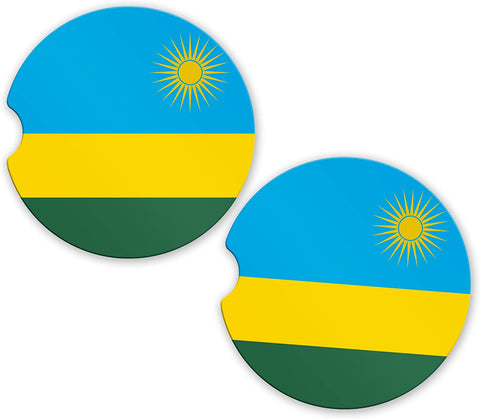 Rwanda Flag Custom Car Coasters Cup Holder Matching Coaster Set