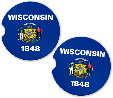 BrownInnovativeMedia Wisconsin State Flag Custom Car Coasters Cup Holder Matching Coaster Set