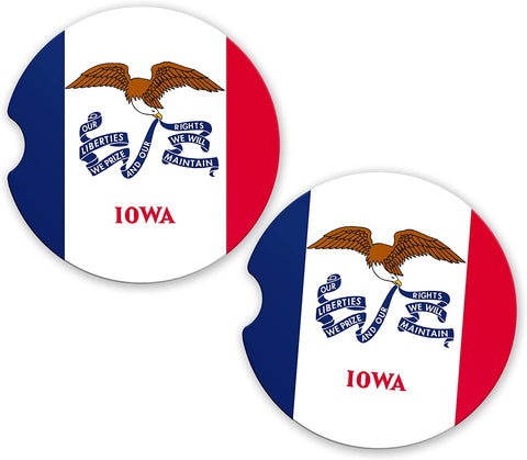 BrownInnovativeMedia Iowa State Flag Custom Car Coasters Cup Holder Matching Coaster Set