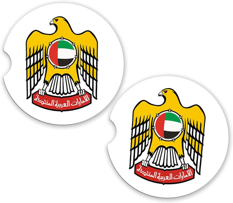 UAE United Arab Emirates World Flag Coat Arms Sandstone Car Cup Holder Matching Coaster Set
