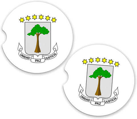 Equatorial Guinea World Flag Coat Of Arms Sandstone Car Cup Holder Matching Coaster Set