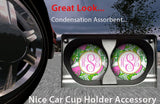 BrownInnovativeMedia Pink Lime Green Strawberries Personalized Monogram Sandstone Car Cup Holder Matching Coaster Set