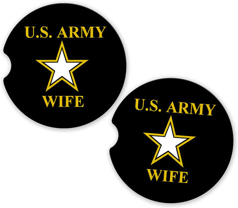 BrownInnovativeMedia US Army Wife Military Car Sandstone Car Cup Holder Matching Coaster Set