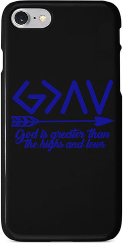 God is Greater Than The Ups and Downs #3 Arrow Quote Blue iPhone Case Cover 5/5S/SE/6/6S 6/6S 7 8 Plus X XS 3D Wrap Around Case