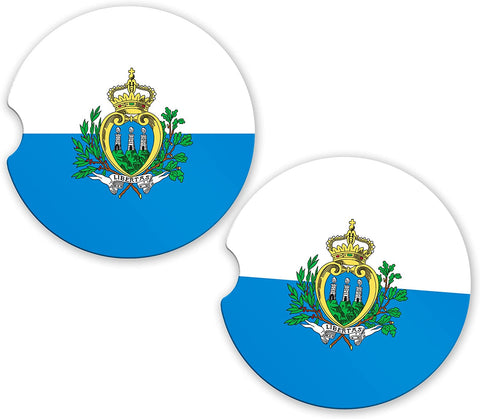 San Marino Flag Custom Car Coasters Cup Holder Matching Coaster Set