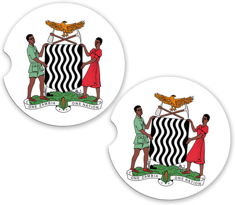 Zambia World Flag Coat Arms Sandstone Car Cup Holder Matching Coaster Set