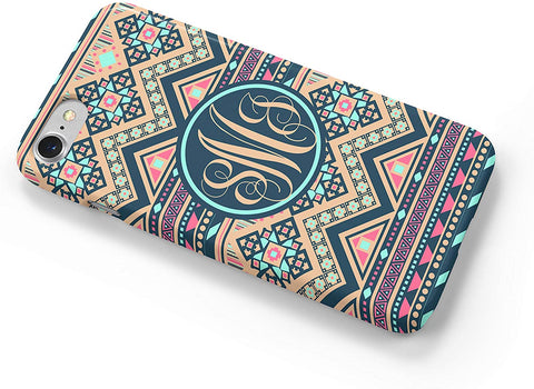 Tan Navy Aztec Tribal Custom Monogram iPhone Case Cover 5/5S/SE/6/6S 6/6S 7 8 Plus X XS 3D Wrap Around Case (iPhone 5/5S/SE)