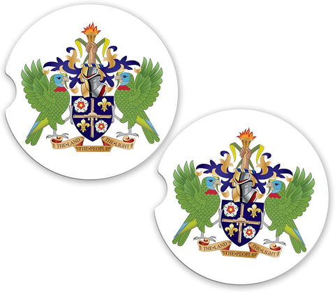 Saint Lucia World Flag Coat Arms Sandstone Car Cup Holder Matching Coaster Set