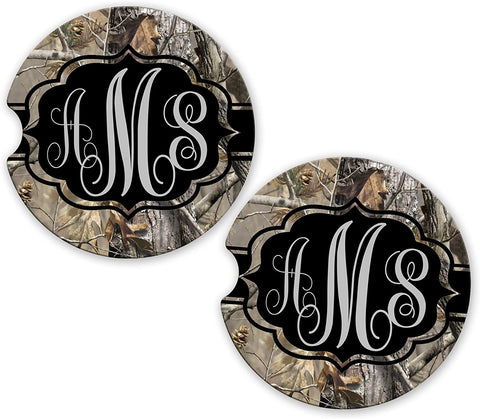Gray Black Ribbon Camo Personalized Monogram Sandstone Car Cup Holder Matching Coaster Set