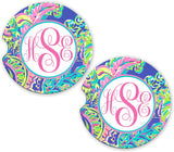 BrownInnovativeMedia Purple Pink Paisley Floral Personalized Monogram Sandstone Car Cup Holder Matching Coaster Set