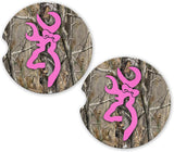 Brown Camo Pink Browning Custom Car Cup Holder Matching Coaster Set