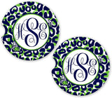 BrownInnovativeMedia Navy Lime Cheetah Personalized Monogram Sandstone Car Cup Holder Matching Coaster Set