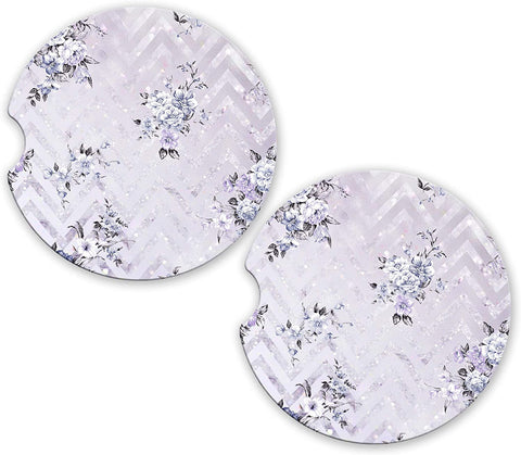 BrownInnovativeMedia White Glitter Chevron Floral Marble Look Custom Car Cup Holder Matching Coaster Set