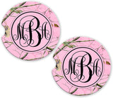 Pink Camo Personalized Monogram Sandstone Car Cup Holder Matching Coaster Set
