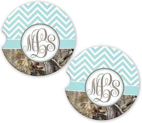 BrownInnovativeMedia Blue Chevron Camo Personalized Monogram Sandstone Car Cup Holder Matching Coaster Set