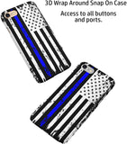 Thin Blue Line Distressed Police Officers iPhone Case Cover 5/5S/SE/6/6S 6/6S 7 8 Plus X XS XR XS MAX Wrap Around Case