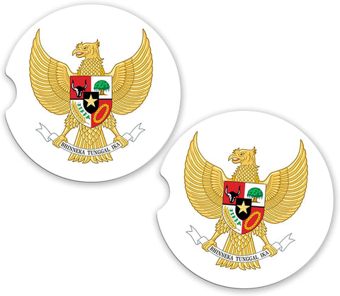 Indonesia World Flag Coat Of Arms Sandstone Car Cup Holder Matching Coaster Set
